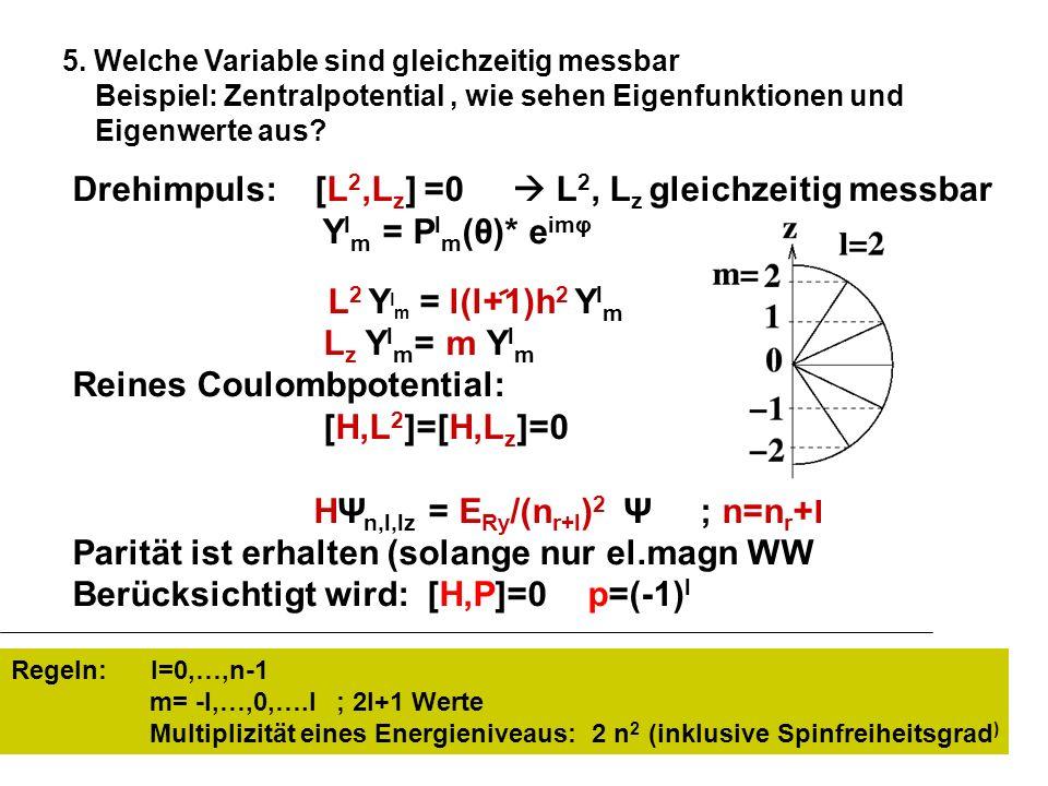 Drehimpuls: [L2,Lz] =0  L2, Lz gleichzeitig messbar